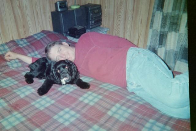 Bucky makes a good pillow for his Papa.